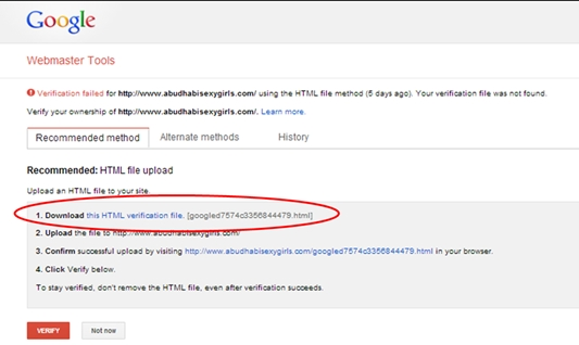 Google Webmaster Download HTML