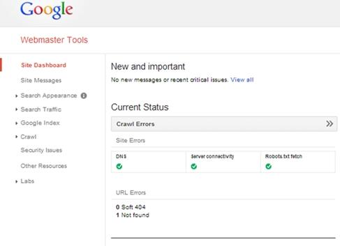 Google Webmaster Crawl Errors
