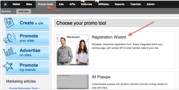 Promo Tools - Registration Wizard